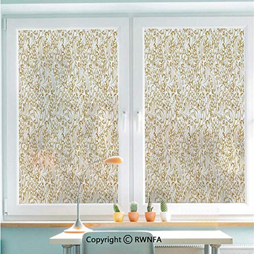 Decorative Window Films Kitchen Glass Sticker Golden Grape Vine Classic Victorian Pattern Invitation Background Wine Dine Illustration Waterproof Anti-UV for Home and Office 22.8