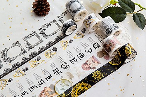 BCopter Washi Masking Tape Set, DIY Sticky Adhesive Paper, Colorful Decorative Arts Craft, Gift Wrap Scrapbook Bullet Journal Planner, Value Pack Hand Tear Writable (Gothic)