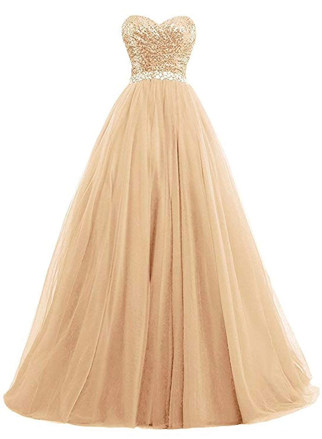 Champagne olise bridal Sexy Sweetheart Women's A Line Long Prom Dresses Sequin Party Formal Dresses Ball Gowns