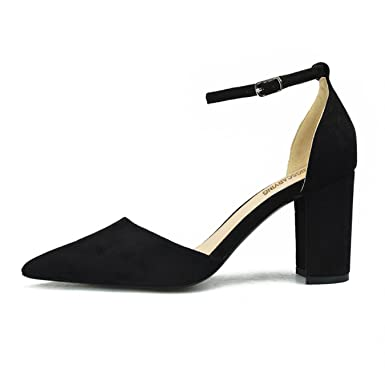 HENGSCARYING 2018 Summer Fashion 8cm High Heels Sandals Lady Block Square Heels Female Buckle Pointed Toe Flock Pumps Plus Size