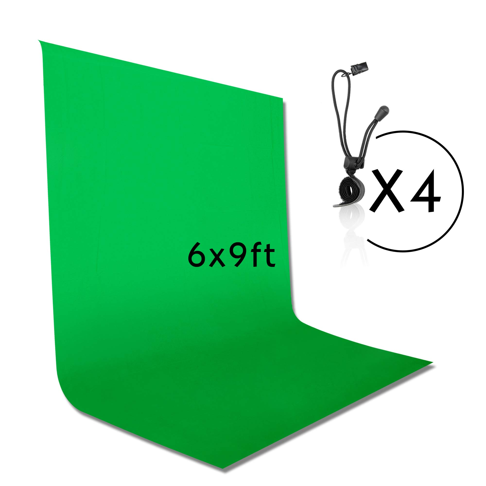 Emart 6 x 9 ft Photography Backdrop Background, Green Chromakey Muslin Background Screen for Photo Video Studio, 4 x Backdrop Clip by EMART