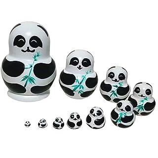 Crewell 10PCS/Set Panda con Bamboo Nesting Dolls Matryoshka Russian Doll Popular Handmade Kids Girl Gifts Christmas Toys Craft