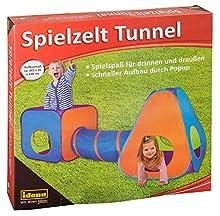 Idena 40118 - Tienda de campaña con túnel para niños, para Interior y Exterior, Aprox. 265 x 95 x 100 cm, Multicolor