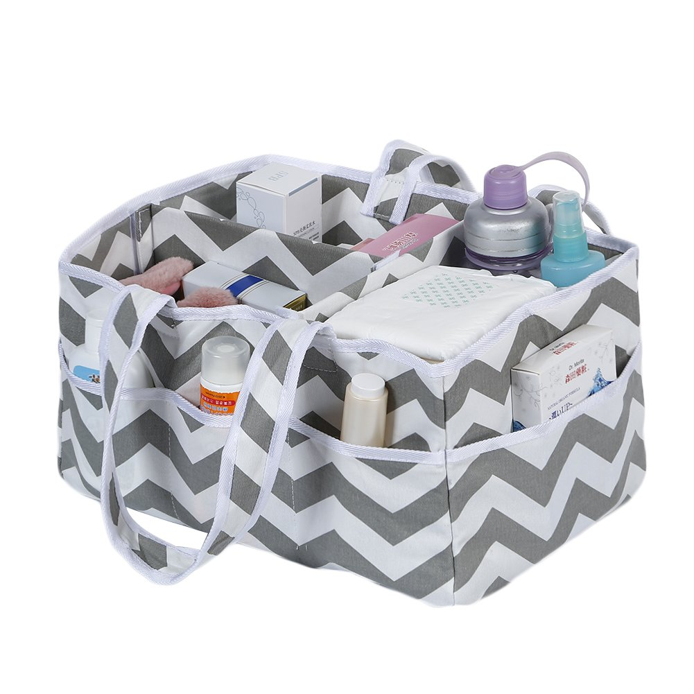 Bulary Portable Large Capacity Folding Multi-Purpose Baby Diapers Nappies Stacker Caddy Storage Box Organizer