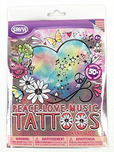 Savvi Peace Love Music 50+ Temporary Tattoo Pack (Hippie Tattoo Designs)