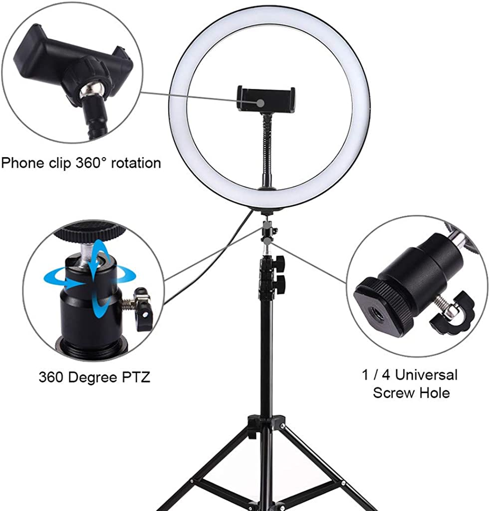 Ring Light Kit LED with Tripod Stand Dimmable 3 Modes for Makeup Video 6-10.2inch