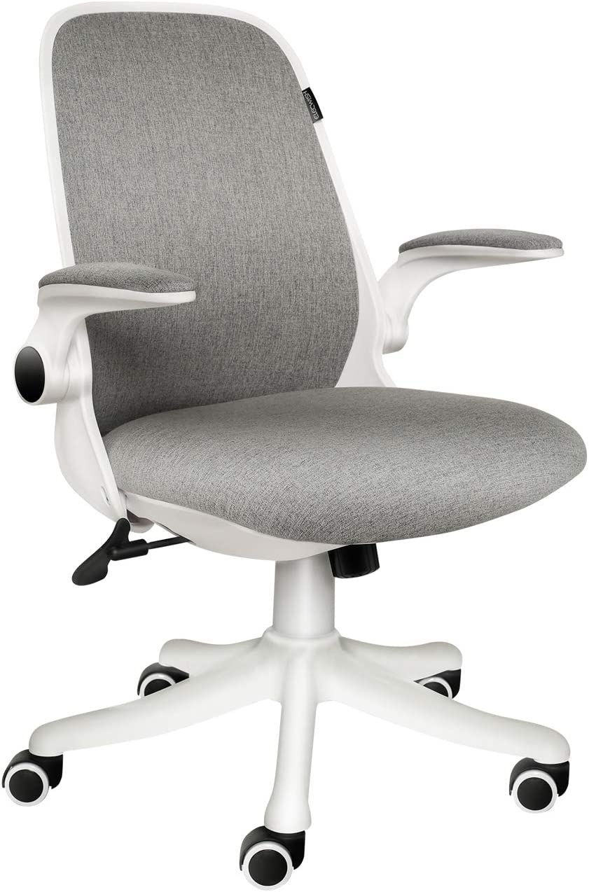 ELECWISH Office Chair Ergonomic Desk Chair Mid Mesh Back Swivel Seat Adjustable Lumbar Support Executive Chair with Flip up Armrests (Grey)