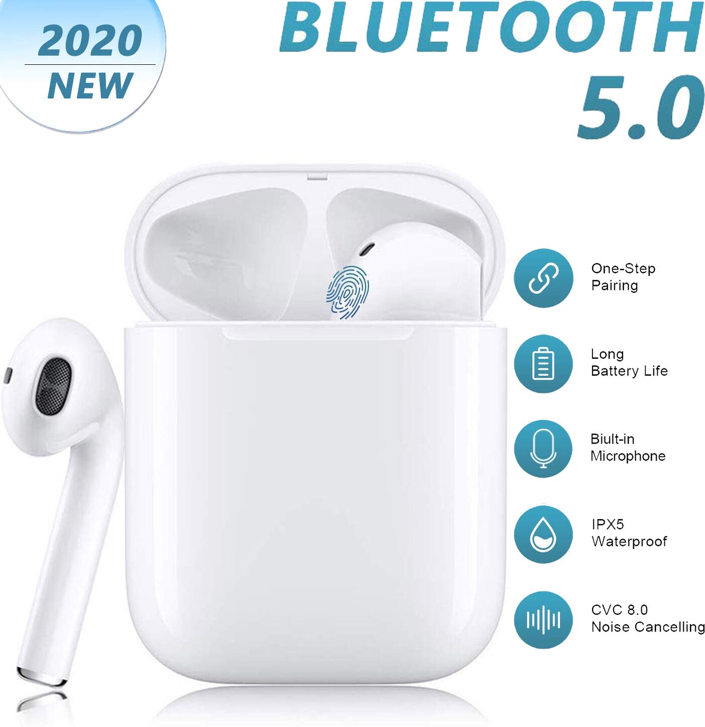 Bluetooth Wireless Earbuds Noise Canceling 3D Stereo with【24Hrs Fast Charging Case】IPX5 Waterproof Pop-ups Auto Pairing Sports Headphones in-Ear Built-in Mic Headset,for Airpods iPhone Apple