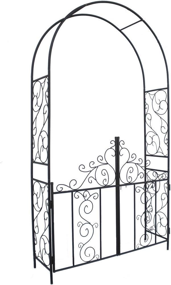 1. GO Steel Garden Arch with Gate, 7'5'' High x 4'2'' Wide, Garden Arbor for Various Climbing Plant, Outdoor Garden Lawn Backyard