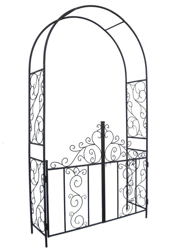 1.Go Steel Garden Arch with Gate, 7'5 High x 4'2 Wide, Garden Arbor for Various Climbing Plant, Outdoor Garden Lawn Backyard