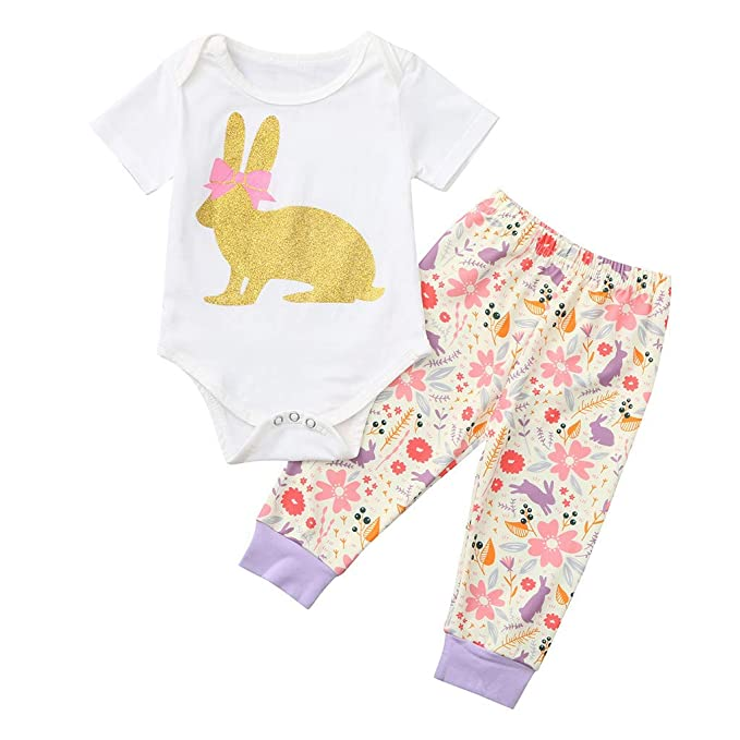 1438b10a3a48 Amazon.com  Cindero Newborn Infant Baby Girl Easter Bunny Outfits Romper  Tops+Floral Pants Headband 3PCS Easter Outfits Set White  Clothing