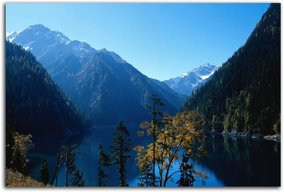 Mountain canvas wall art mountain wall decor Prints Nature Lake Wall Art Landscape Wall Painting to Hang for Living Room Bed Room Home Decoration frameless 12x18 Inch