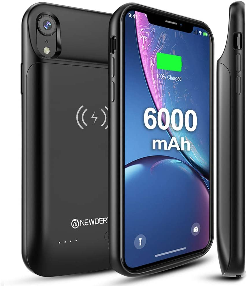 NEWDERY Upgraded iPhone XR Battery Case Qi Wireless Charging Compatible, 6000mAh Slim Extended Rechargeable External Portable Charger Case Compatible ...