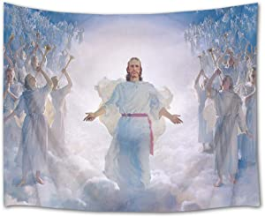 HVEST Jesus Christ Tapestry Lord and Angel in Heaven Wall Hanging Merry Christmas Tapestries for Bedroom Living Room Dorm Decor,60Wx40H inches