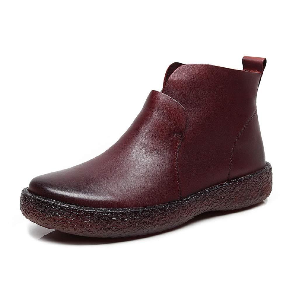 Gaslinyuan Slip on Stiefel Damen Damen Damen Leder Ankle Flache Freizeitschuhe (Farbe   Rot, Größe   EU 40) 1e70e4