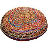 """Cotton Craft - Jute & Cotton Multi Chindi Braid Floor Pillow - Handwoven from Multi-color Vibrant Fabric Rags (24"""" Round)"""
