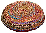 Cotton Craft - Jute & Cotton Multi Chindi Braid Floor Pillow - Handwoven from Multi-color Vibrant Fabric Rags (24'' Round)