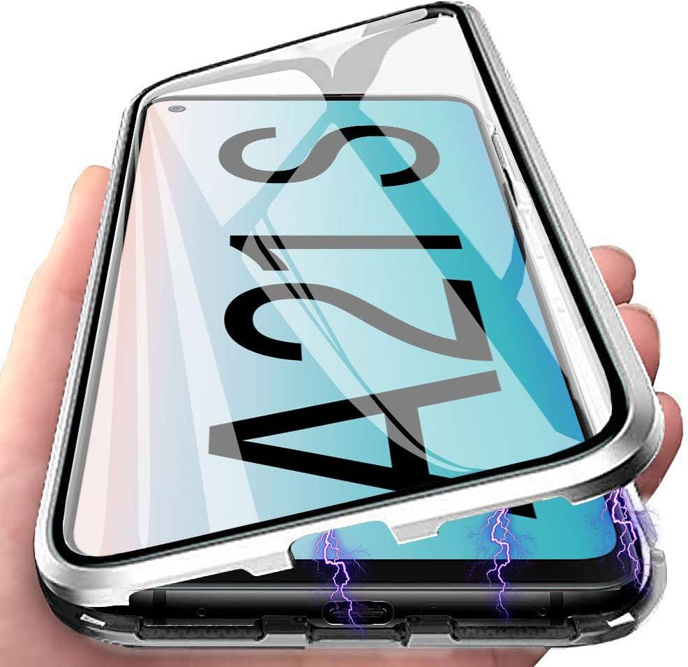 Funda para Samsung Galaxy A21s Carcasa Adsorci/ón Magn/ética Plata E-Lush Funda 360 Grados Protecci/ón Transparente Caso Metal Flip Cover Frontal y Posterior Vidrio Templado Anti Choque Case Cover