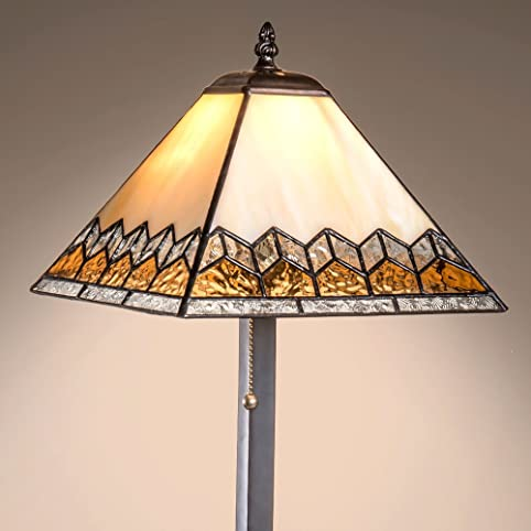 J devlin lam 681 tb tiffany stained glass mission table lamp ivory opalescent with apricot beige