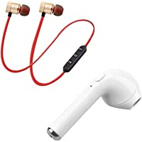 Lowfe Wireless Bluetooth Magnet Headset & Hand-Free Calling, Bulit-in-Mic with Wireless Sports Mini Single I7 Super Extra Bass Bluetooth Headset Support for All Smartphone (Assorted Colour)
