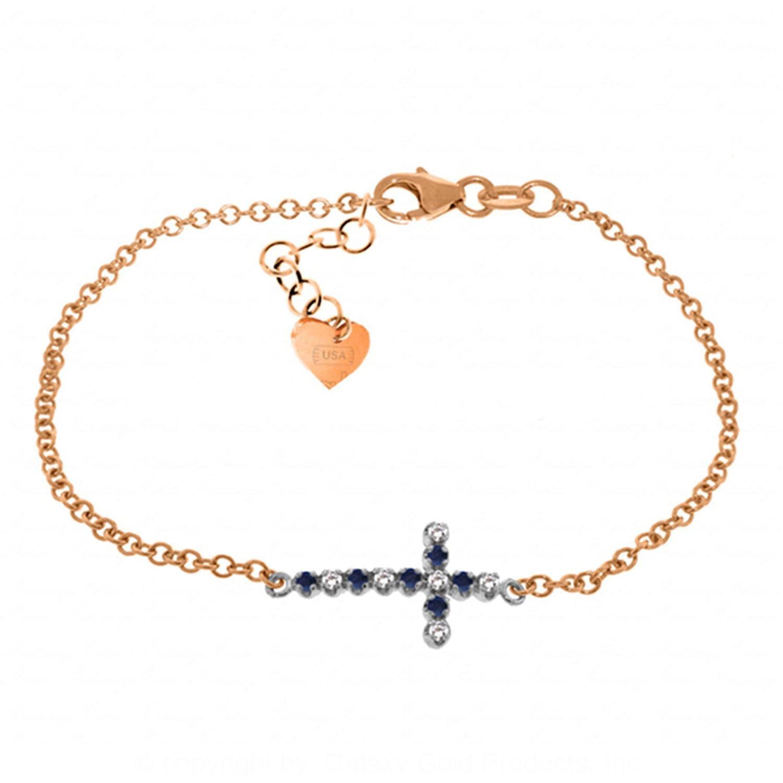 ALARRI 0.24 Carat 14K Solid Rose Gold Cross Bracelet Diamond Sapphire Size 7 Inch Length