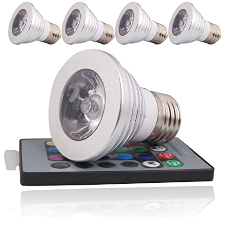 4pcs 3 W E27 RGB Bombilla LED multicolor con mando a distancia (Cambio de color