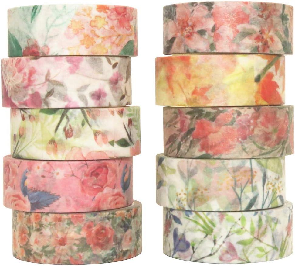 cinta Washi Spring Flowers 10 rollos