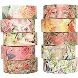 YUBBAEX 10 Rolls Spring Flowers Washi Tape Set Masking Decorative Tapes (Warm Tone)