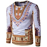 #9: Annystore Mens Long Sleeve Cotton Traditional African Dashiki T Shirts Clothing