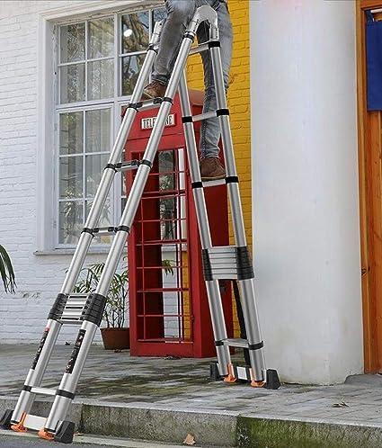 H.ZHOU Escalera Plegable De Aluminio Máximo De Carga 330lbs General Perfil Ampliable con Polea Y Alargar La Barra Estabilizadora Multifuncional (Size : 2.2+2.2m-Multi-functionLadder): Amazon.es: Hogar