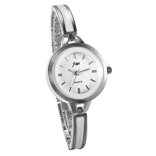 JewelryWe Reloj de Pulsera para Mujer Plateado, Correa de Metal Retro Elegante Relojes de Chicas, Cuarzo Esfera Pequeña Blanca Modelo 2017: Amazon.es: ...