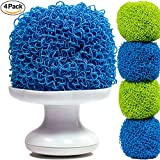 Bolrin Scratch Free Hard Polyester Pot & Dish Scrubber – 4 Pack Pan Scourer (Green/Blue)