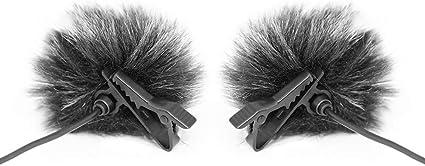 TAIKUU 2Pcs Furry Wind Muff per microfono Lavalier compatibile con BOYA S0NY Serie Saramonic Corpo nero Punta bianca 0,5 cm