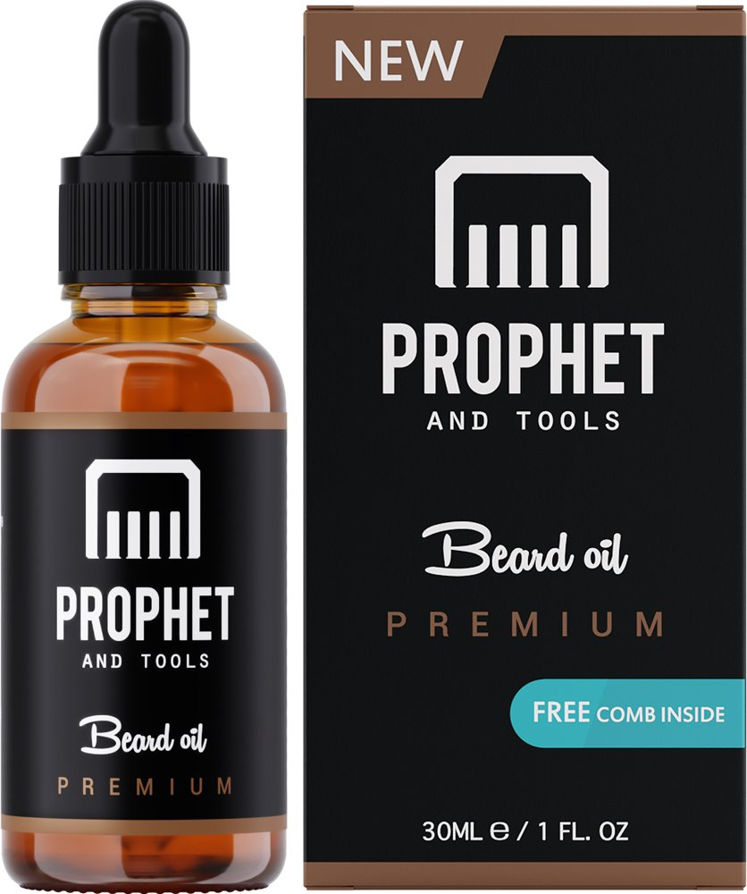 PREMIUM Unscented Beard Oil and Comb Kit for Thicker Facial Hair - The All-In-One Conditioner, Softener, Shine and Fuller Beard Growth in Patchy Spots - NUTS-FREE, VEGAN & HALAL! Prophet and Tools