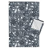 Steampunk Tea Towels Steampunk Panel - Gears And Pipes - Steel by Bonnie Phantasm Set of 2 Linen Cotton Tea Towels