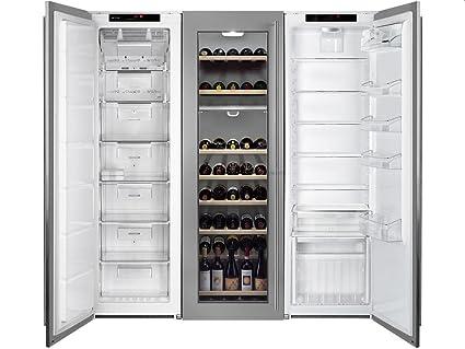 Kühlschrank Kombi : Smeg einbau side by side wein kühl gefrier kombination edelstahl