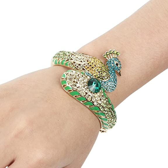 Vintage Style Jewelry, Retro Jewelry EVER FAITH Womens Austrian Crystal Enamel Adorable Animal Peacock Bangle Bracelet Gold-Tone $20.99 AT vintagedancer.com