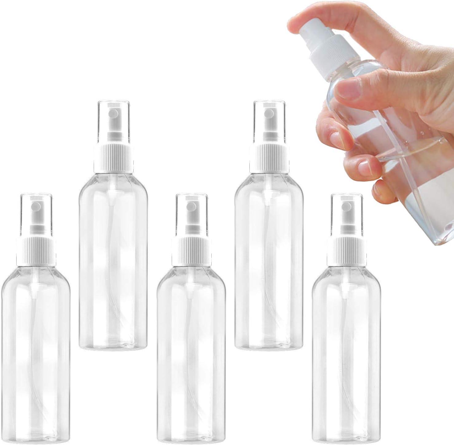 Ossky Bote Spray Botellas Vacía De Plástico Transparentes Contenedor de Pulverizador,Pulverizador Transparente Niebla Fina Atomizador de Viaje Conjunto de Botellas (5 * 100 ML)
