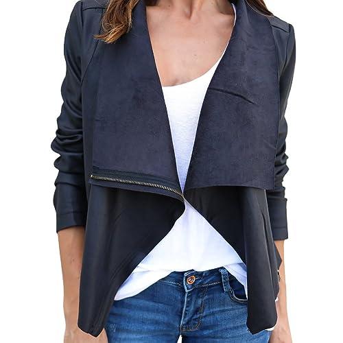iBaste Imitación Suede Jacket Casual Chaqueta de Moda para Mujer