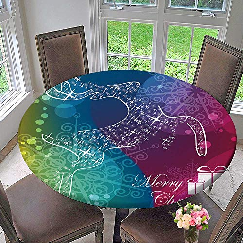 Mikihome Modern Simple Round Tablecloth Christmas Card Vector eps Decoration Washable 67