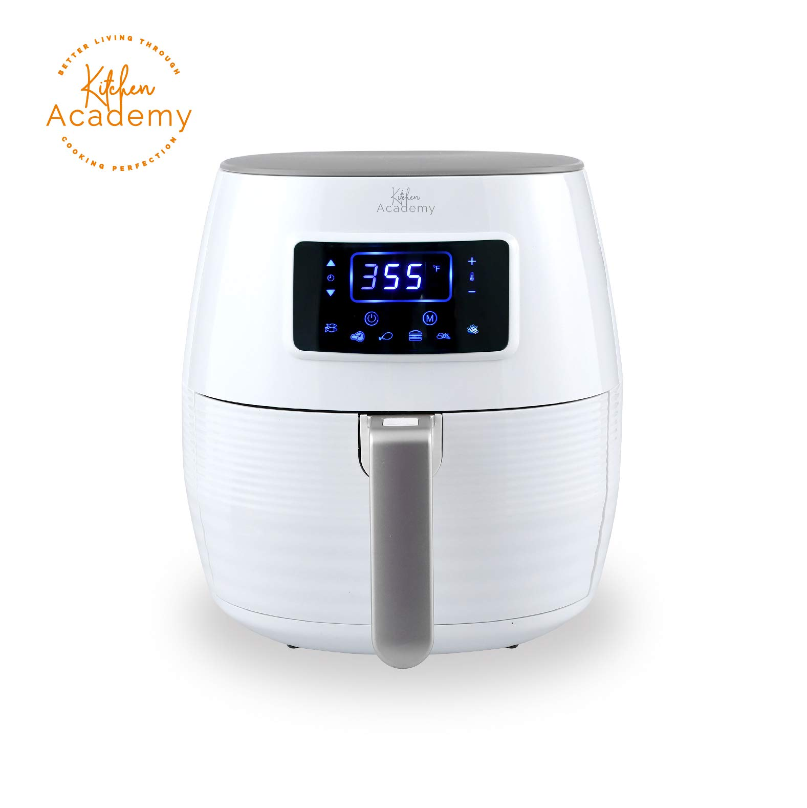 Kitchen Academy Air Fryer (50 Recipes), 5.8 Qt Electric Hot Air Fryers XL Oven Oilless Cooker, 7 Cooking Preset, LED Digital Touchscreen,Nonstick Basket,1 - Year Warranty,ETL/FDA Listed,1700W - White by Kitchen Academy