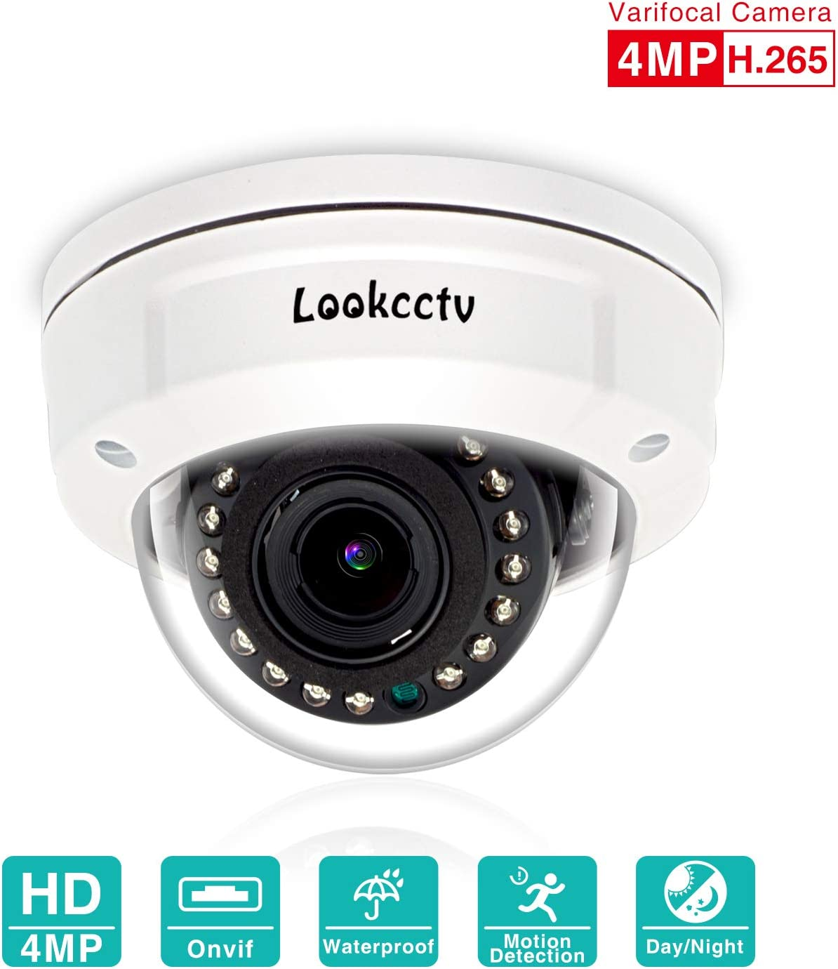 lookcctv POE Vandal-Proof IP Dome Camera, 4MP Waterproof Security Camera, Night Vision Video Surveillance Camera,2.8-12mm Varifocal Lens, Motion Detection Alarm, Compatible with ONVIF NVR