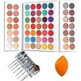 Sweatproof Eyeshadow Palettes + Makeup Brushes Set + Sponge Blender Pigmented 63 Pop Colors Matte Shimmer Metallic…