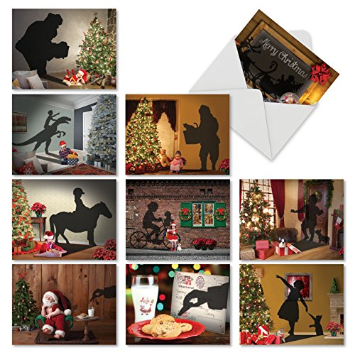 10 Boxed & Assorted Merry Christmas Cards 'VISIONS OF CHRISTMAS' w/Envelopes (Mini Size 4'' x 5 ¼'') - Cute Holiday Cards for Seasons Greetings, Happy Holidays, Xmas Gifts w/Beautiful Cover 6665XSG