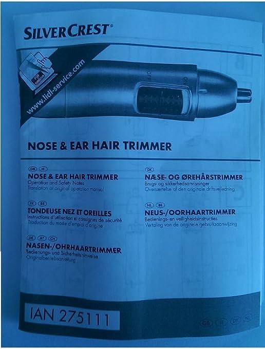 Silvercrest nariz/orejas pelo Trimmer, afeitadora para eliminación ...
