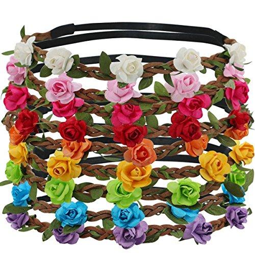 Joyci Set of 12 Floral Headband Flower Crown Headband /Grab Bag Deal, Boho Flower Headband Wedding Hair Band