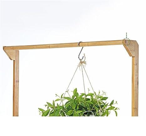 HJ Marco Simple de la Flor de bambú Plegable de 3 Capas Soporte de la Planta del balcón de la Sala de Estar Estante de la exhibición de la Maceta Estante ...