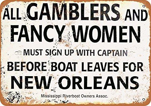 9 x 12 Metal Sign - Gamblers and Fancy Women