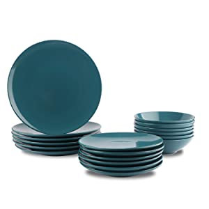 AmazonBasics 18-Piece Stoneware Dinnerware Set - Deep Teal, Service for 6