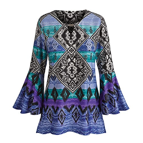 Women's Tunic Top - Scoop Neckline Bell Sleeves Diamonds Blouse - 1X